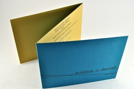 Modern Custom Simple Wedding Invitation Trifold in Teal and Gold, Sample - KRISTINA