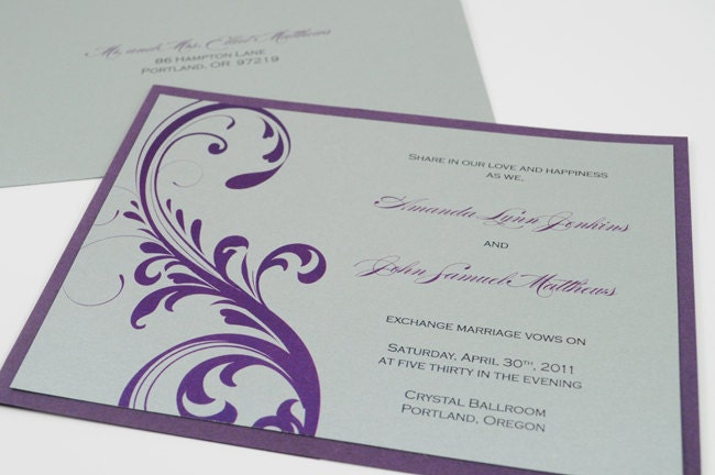 Silver And Purple Wedding Invitations: Wedding Invitation In Purple And Silver By
