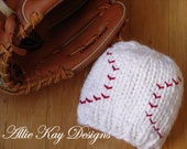THE BABE...baseball beanie with chunky white yarn and red stiches...AVAILABLE in all sizes