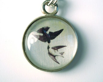 Sterling Silver Barn Swallows with Nautical star