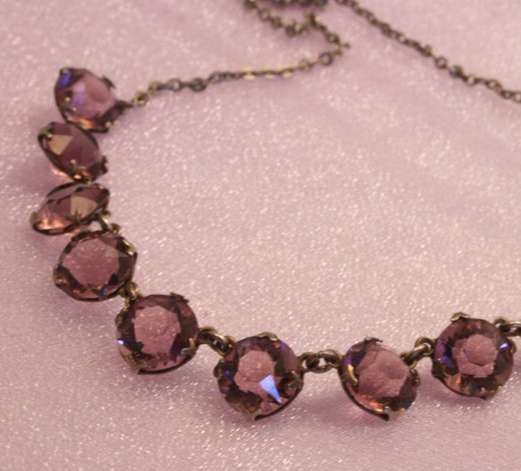 RESERVED for READYMADEJEWELRY Vintage purple open back crystal glass necklace