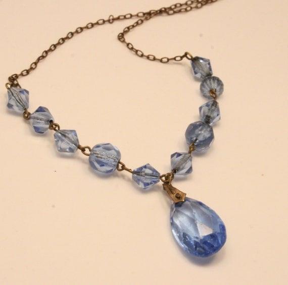 Vintage Edwardian blue glass crystal necklace.