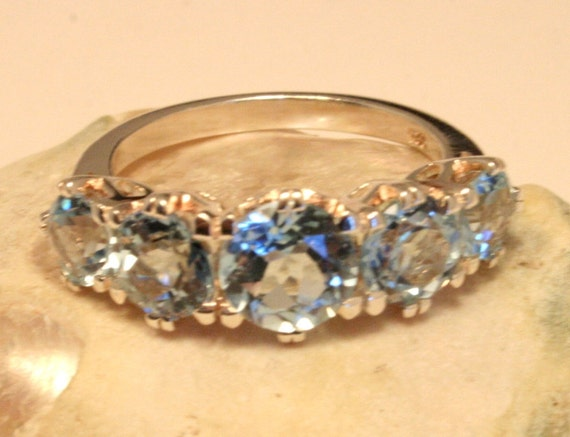 Vintage blue topaz and sterling silver ring. US size 7 3/4. UK size P