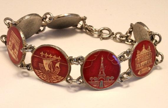 Vintage Paris souvenir coin bracelet. Red enamel. Eiffel Tower. Sacre Coeur etc