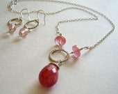 Sterling Silver and Cherry Quartz Briolette Necklace, Peach, Summer Colors, Brushed Sterling Silver Necklace, Geometric