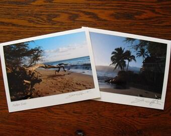 Maui Seascapes Note Cards, Hawaiian Photo Cards, Signed by Artist, Beach Photography, Maui Beach Cards, Outrigger Canoe Palm Trees Sea Shore