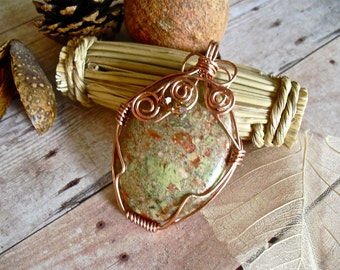 Jasper Cabochon Pendant, Wire Wrapped in Copper with Swarovski Accent, Mint Green and Copper, Wire Wrapped Pendant, Fall Colors Large Jasper