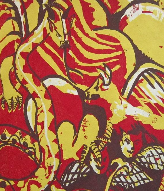 Wall Art, Dante's Inferno Original Silkscreen Illustration, Goth Art, Depths of Hell, Weird Creepy Macabre, Illustration Print, Halloween