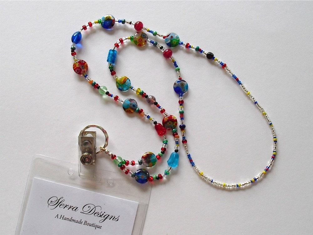millefiore beaded lanyard necklace