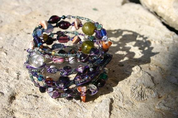 Magical Moonlight Infused Memory Wire Wrap Bracelet, Art Nouveau Style Wrap Bracelet, Moon Goddess Wrap Bracelet, Tribal-inspired Bracelet