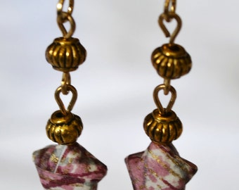 Origami Wishing Star Earrings Mauve and Gold