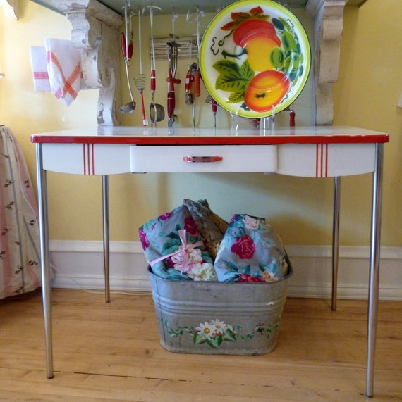Vintage Red and White Enamel Top Kitchen Work Table with Chrome Legs