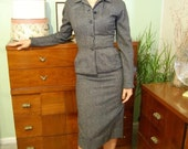 Vintage 1940s Black/Blue Wool 2pc Fitted Skirt Suit - Size XS