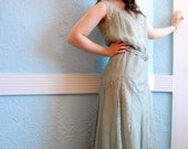 Vintage 1920s Pale Sage Green Silk Chiffon and Chantilly Lace Evening Dress - Size Medium - AS IS