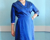 HALF PRICE CLEARANCE - Vintage 1950s Wiggle Dress - 50s Sharkskin Dress - Royal Blue