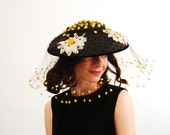 Vintage 1950s Hat Veil - 50s Hat Veil - Brown with Bright Yellow Pom Poms