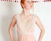 Vintage 1960s Nightgown - 60s Long Nightgown - Petal Pink