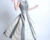 Vintage 1960s Formal Dress - 60s Long Dress - Silver & White Lurex