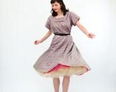 Vintage 1950s Dress - 50s Gingham Dress - Black and White Eyelet