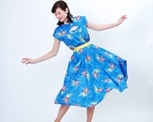 Vintage 1980s Summer Dress - 80s Tropical Print Dress - 80s does 40s Style