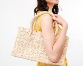Vintage 1960s Handbag - 60s Straw Bag - Pale Beige Raffia