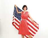 Vintage 1960s Dress - 60s Summer Dress - Red and White Star Print