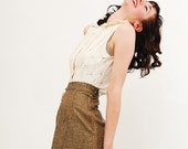 Vintage 1950s Pencil Skirt - 50s Tweed Skirt - Beige and Black Fleck