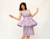 Vintage 1950s Party Dress - 50s Party Dress - Lilac Floral