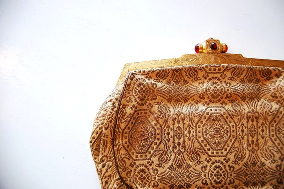 Vintage 1930s Art Deco Chamagne and Pewter Brocade Evening Clutch with Engraved Brass Frame and Red Glass Details