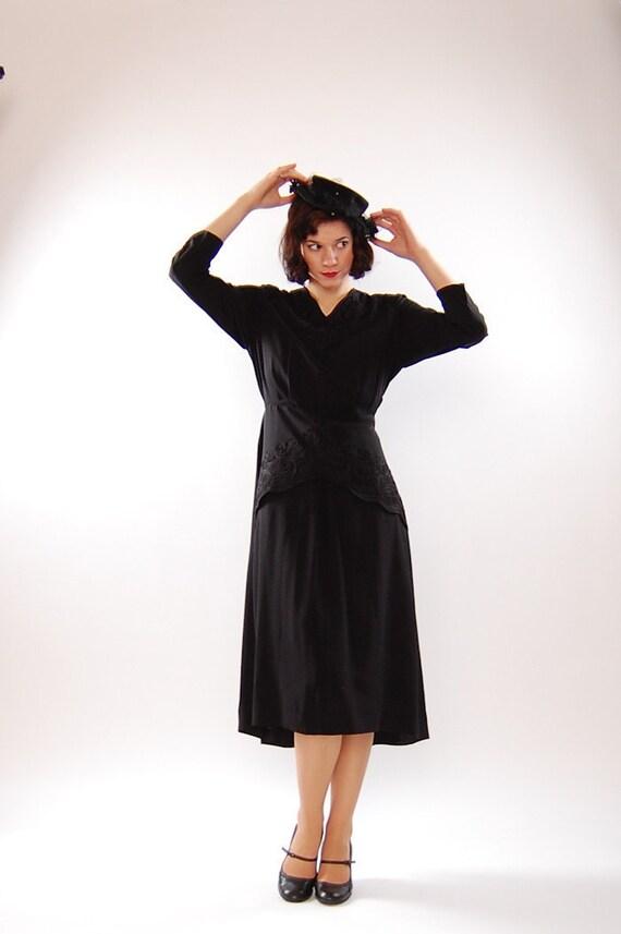 Vintage 1940s Cocktail Dress - 40s Rayon Dress - Black Soutache Detail