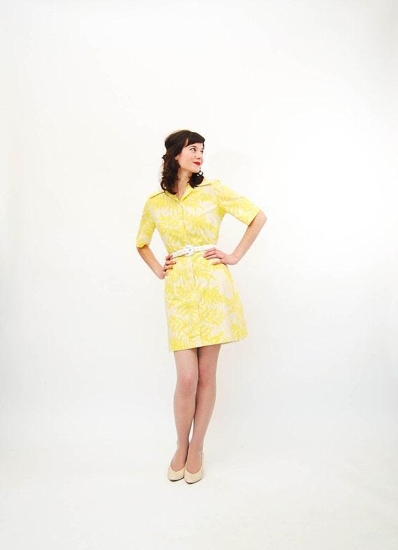 Vintage 1970s Summer Dress - 70s Mini Dress - Yellow Floral Print