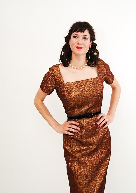 RESERVED - Vintage 1950s Wiggle Dress - 50s Lurex Dress - Copper Brown