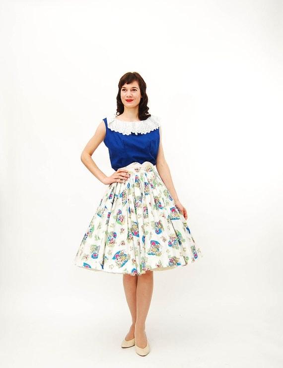 Vintage 1950s Full Skirt - 50s Tourist Skirt - Mexican Novelty Print