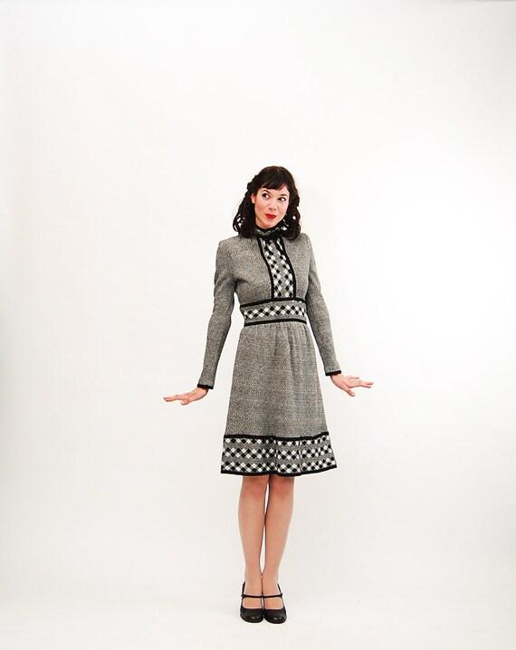 RESERVED - Vintage 1960s Knit Dress - 60s MOD Dress - Black and White