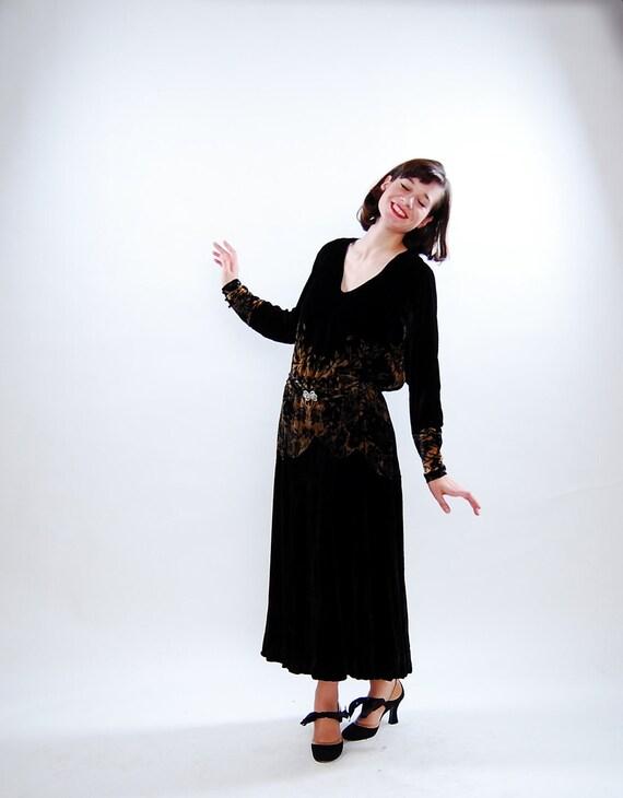 RESERVED - Vintage 1920s Dress - 20s Silk Velvet Dress - Black and Ivory Floral Print