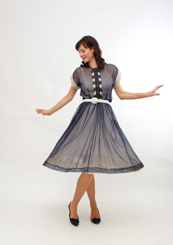 Vintage 1940s Dress - 40s Summer Dress - Navy & White Swiss Dot