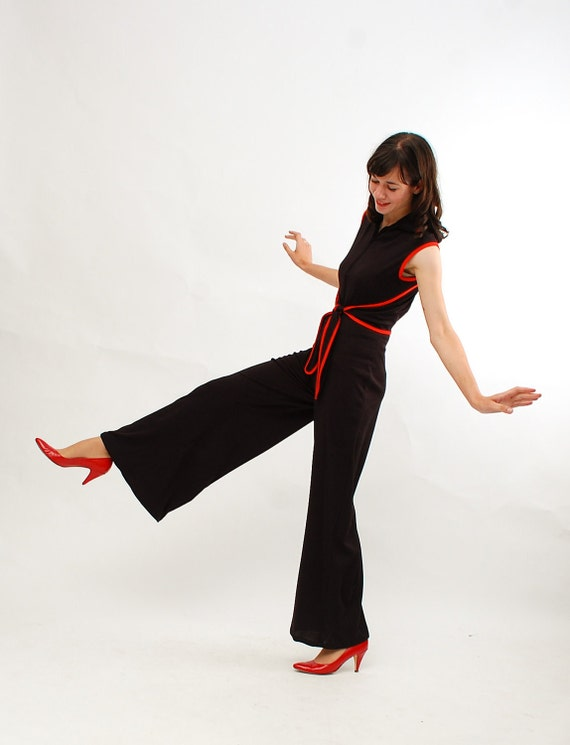 Vintage 1970s Jumpsuit - 70s Disco Jumpsuit - Black and Red - Deadstock