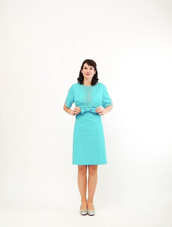 Vintage 1960s Cocktail Dress - 60s Mini Dress - Tiffany Blue - Beads and Pearls - Plus Size