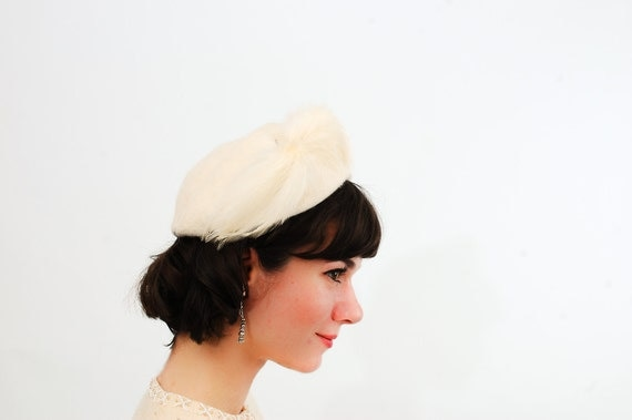 Vintage 1950s Hat - 50s Cocktail Hat - Winter White Mohair
