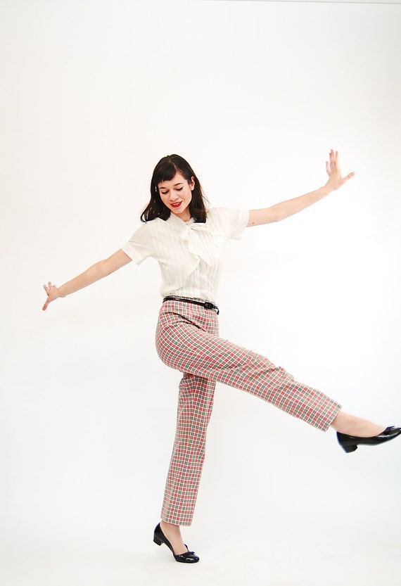 Vintage 1960s Wool Pants - 60s Pendleton Pants - Pink and Blue Windowpane Plaid