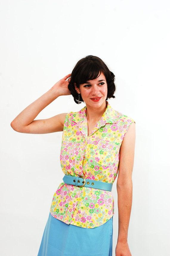 Vintage 1970s Blouse - 70s Summer Shirt - Neon Floral Print