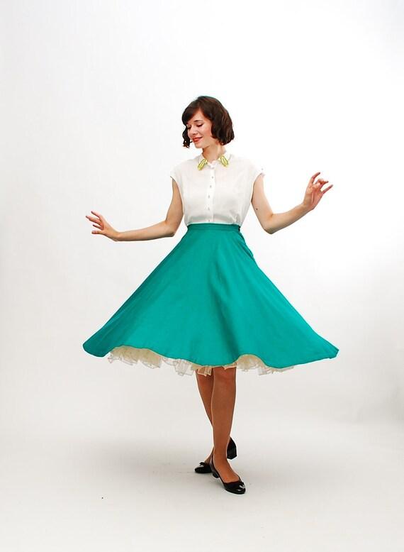 Vintage 1950s Skirt - 50s Full Circle Skirt - Ultramarine Green