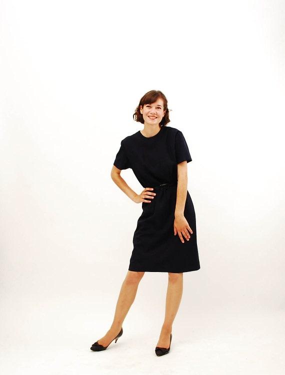 Vintage 1960s Shift Dress - 60s Sheath Dress - Classic Navy Blue