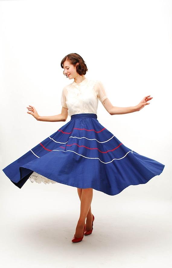 Vintage 1950s Circle Skirt 50s Full Circle Skirt Navy Blue