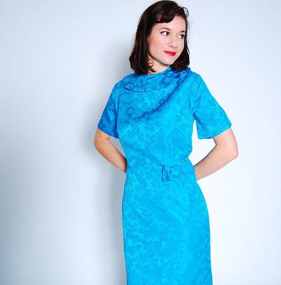 sale - Vintage 1960s Cocktail Dress - 60s Wiggle Dress - Aqua Brocade - Plus Size