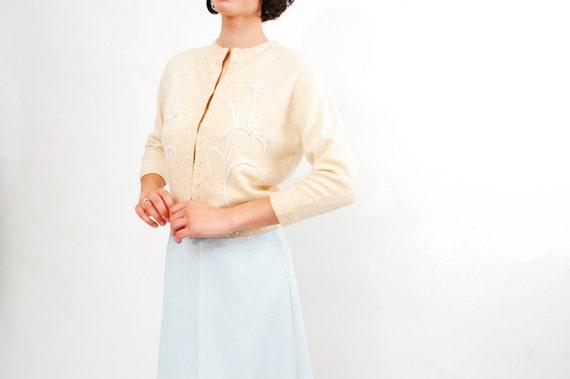 Vintage 1950s Angora Cardigan - 50s Beaded Cardigan - Angora Ivory Sequins and Beads