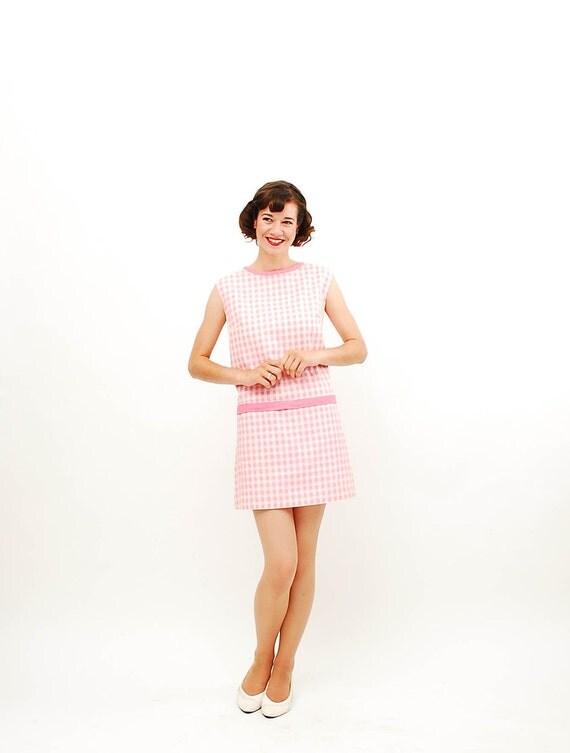 Vintage 1960s Romper - 60s Scooter Dress - Pink & White Gingham