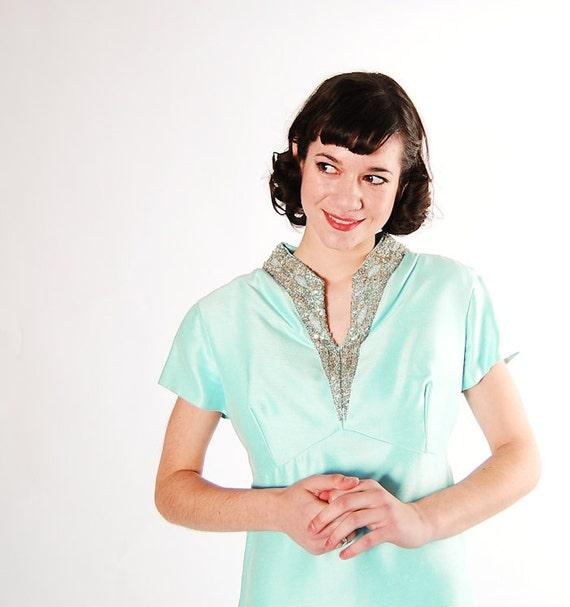 Vintage 1960s Evening Gown - 60s Formal Dress - Pale Aqua