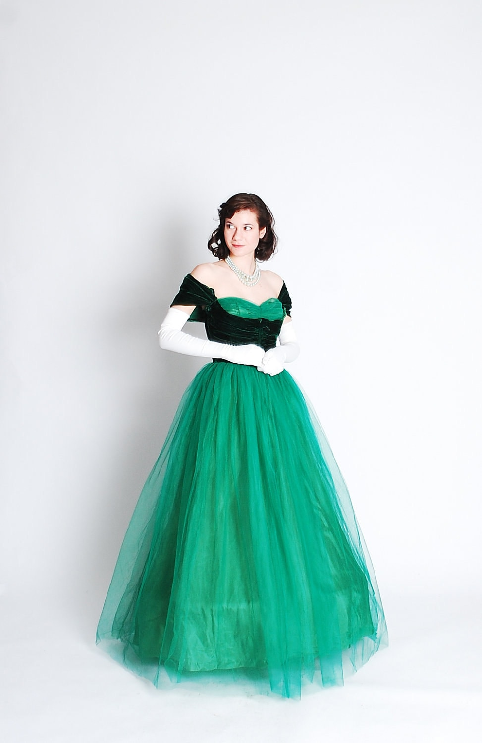 Vintage 1940s Formal Dress 40s Prom Gown Emerald Green
