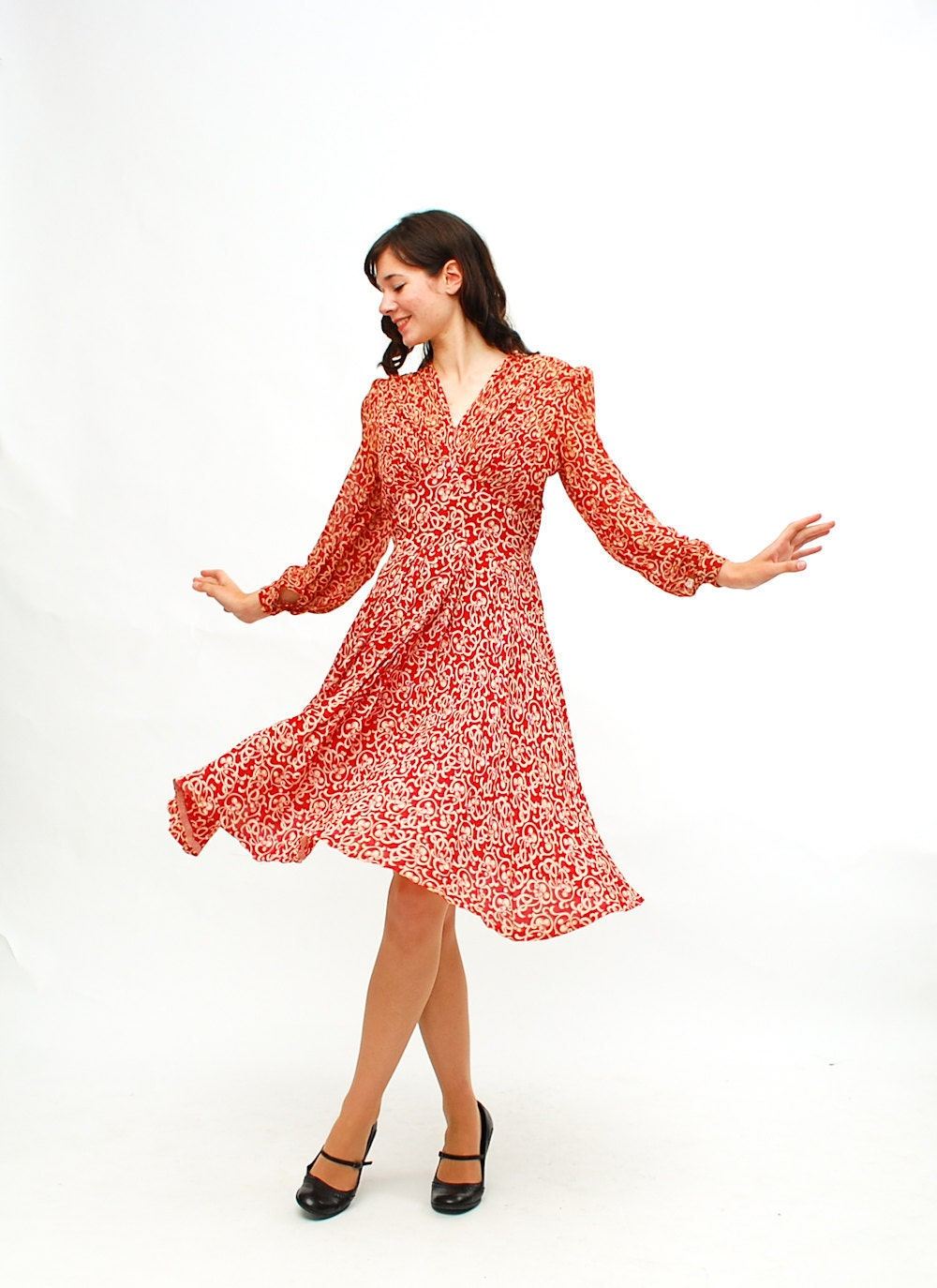 Vintage 1940s Swing Dress 40s Novelty Print Dress Red and
